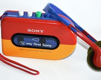 SALE My First Sony, Children's Cassette Player, Red, Yellow and Blue, Classic Sony Walkman with Headphones