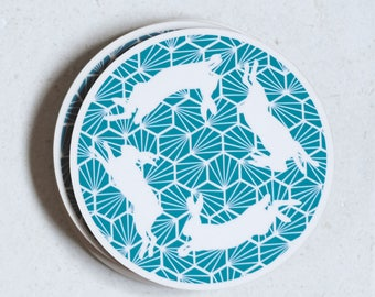 Teal Geometric Hares Pack of 4 Coasters