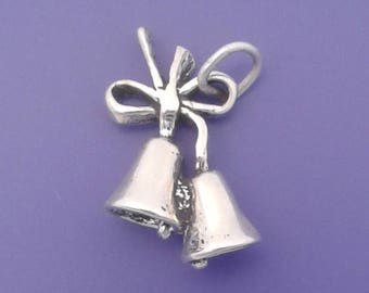 WEDDING BELLS Charm .925 Sterling Silver, Marriage Pendant - sc537