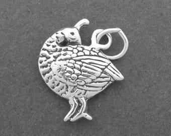 QUAIL Charm .925 Sterling Silver Partridge Bird Pendant - lp3037