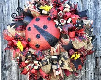Ladybug Wreath, Summer Wreath, Ladybug Decor, Front Door Decor, Ladybug Deco Mesh Wreath, Summer Decor, Ladybug, Summer Deco Mesh Wreath