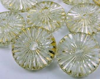 10 pcs (23 x 8 mm) Transparent Circle Beads , Vintage German Beads , Findings ,   Lucite Beads