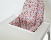 Mini Roses Rosie Blue Antilop IKEA high chair cushion cover for klammig - cushion cover only - shabby chic style - floral girl highchair
