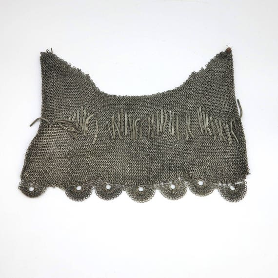 Antique Edwardian chain mail metal from evening purse, complex pattern of links with dangles and scalloped edge, circa 1900s