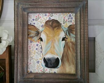 Jersey cow painting on floral paper - farmhouse decor - hand painted artwork on wood panel