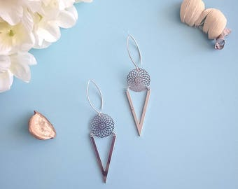 "Silver plated ""Mack"" geometric style earrings"