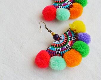 Handmade Semicircle Embroidery Pom Pom Earrings
