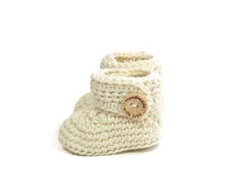 Crochet Baby Booties/Crochet Baby Ankle Booties/Ivory Baby Booties/ Gender Neutral/Made to Order/Handmade Baby Shower Gift