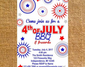 Customized July 4th BBQ Invite - Digital File