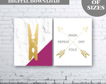 Marble Gold Laundry Wall Art Print. Set of Two ()-Instant Download. Peg Wall Art. Wash Dry Fold Repeat. Laundry Arrow Wash Dry Fold Repeat.