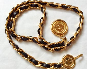 CHANEL Vintage Chain Belt with Leather