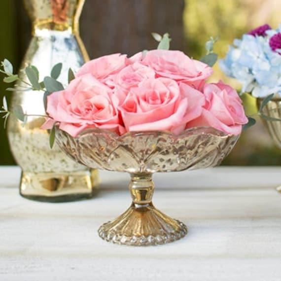 Gold mercury glass vase wedding centerpieces pedestal faux