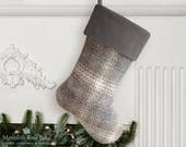 Gray Christmas Stocking, Gray Stocking, Gray Christmas, Grey Christmas Stocking, Grey Stocking, Simple Christmas Stocking, Neutral Stocking