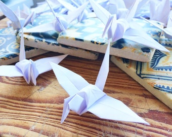 100 White Paper Origami  - Folded Paper Birds  - Origami Birds - Wedding Decoration - Table Decoration - Wedding Favours - Baby Shower