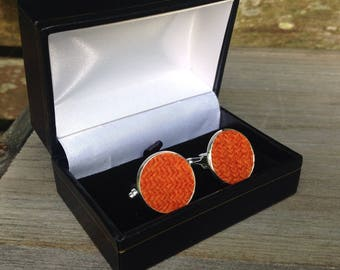 Tweed orange cuff links groomsmen wedding Father's Day birthday gift