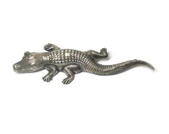 Vintage Sterling Alligator Crocodile Brooch