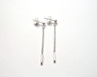 Sterling  Silver Dangle Earrings - Silver Chain Earrings - Handmade Earrings - Medium Length Earrings