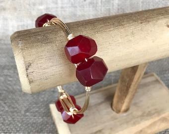 Dark Red Jade Nugget Bangle Bracelet