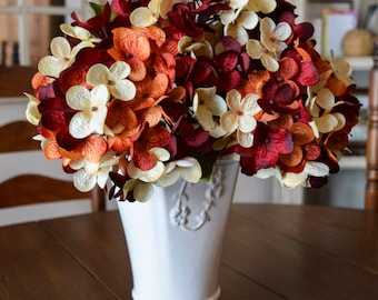 Hydrangea Floral Arrangement | Hand Blended Hydrangea Stems | Hydrangea | Artificial Burgundy Hydrangea | Hydrangea Stems for Vase