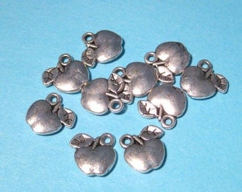 50% OFF Clearance Sale-- Antique Silver Apple Charms Pendants Double Sided