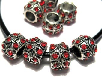 5pcs Antique Silver Large Hole European Rondelle Spacer Beads With Red Rhinestones