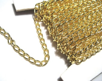 30 Ft Spool Gold Plated Iron Twist Chains 5x3x0.8mm Links-Opened (No.GFF)
