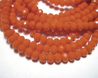 1 Strand Orange Faceted Rondelle Glass Beads 4x3mm ( No.06)