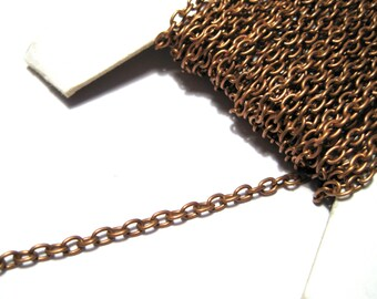 30Ft Spool Antique Copper Iron Cross Chain Links-Opened ( NO.79RFF)
