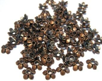 100pcs Antique Copper Flower Bead Caps 6mm