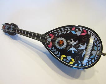 Musical Mandolin Bakealite Folk Art Decorated Various Characters Mother of Pearl