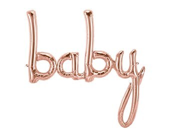 Rose Gold Baby Balloon, Baby Script Balloon, Rose Gold Baby Shower, Baby Announcement Photo, Baby Balloon, Baby Girl Shower, Baby Boy Shower
