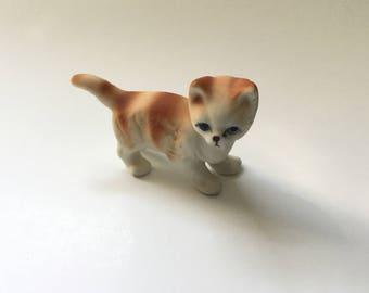 Vintage Cat Figurine/Bisque Bone China/Orange and White Tabby Cat Miniature Figurine