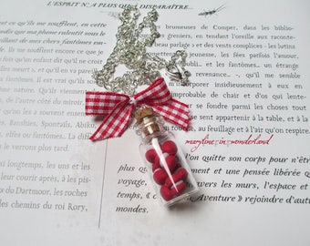 polymer clay macarons red vial necklace