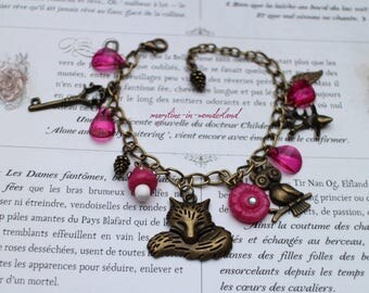 charm bracelet bronze and pink Fox charm