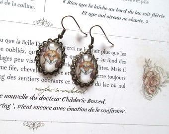 Fox Cabochon Stud Earrings