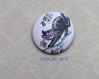 "badge pin cheshire cat ""Alice in Wonderland country"""