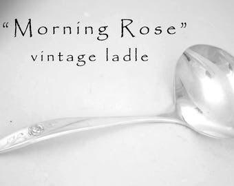 Vintage Ladle, Morning Rose Silver Plated Gravy Serving Utensil Floral Silverware Hostess Housewarming Gift  Sauce Ladle