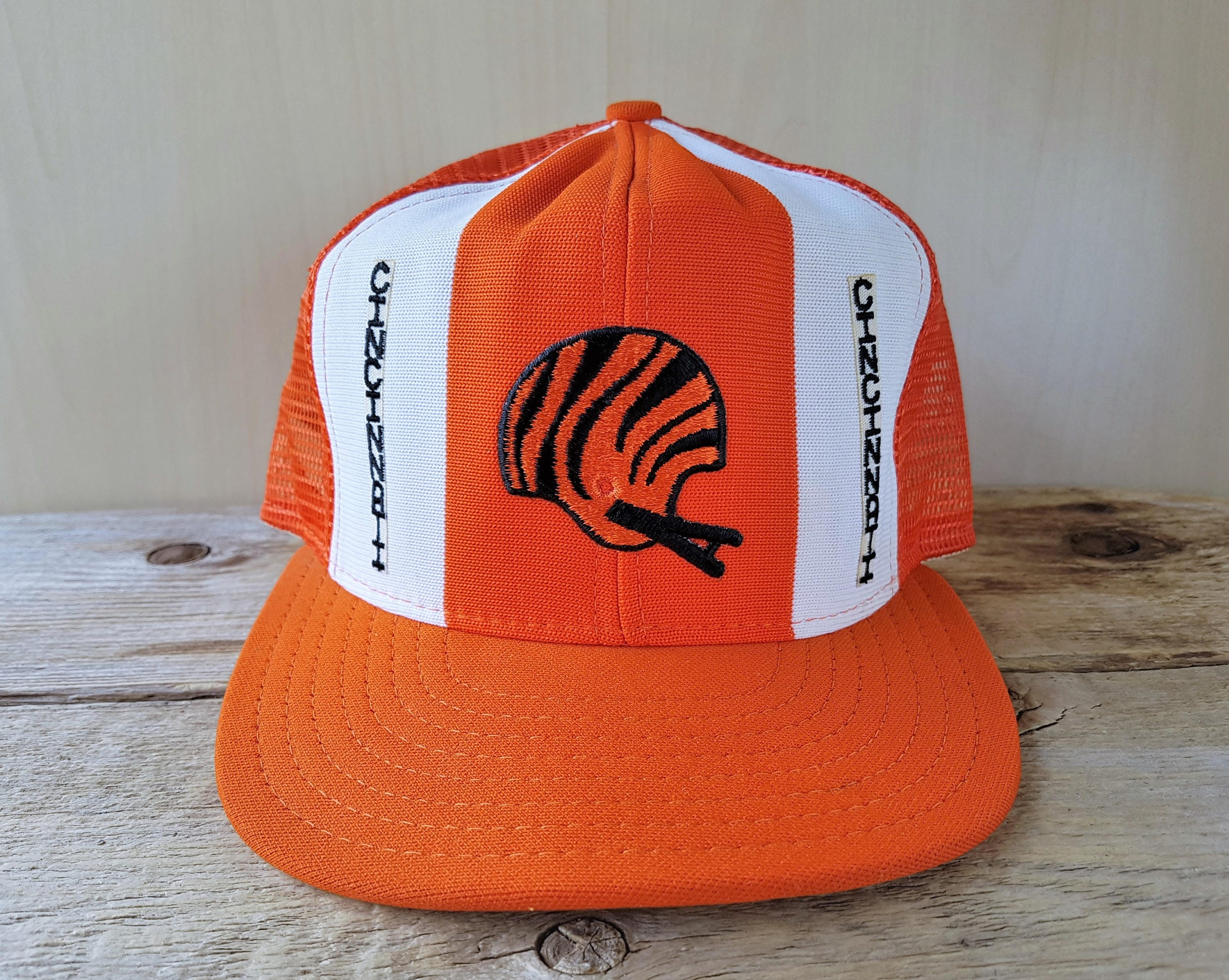ffcf4b5ff2d Cincinnati BENGALS Football Team Vintage 80s Lucky Stripes Official  Licensed AJD Large Snapback Hat Orange Mesh