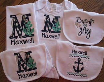 Nautical baby etsy nautical baby gown nautical baby gift monogramed baby gown baby boy nautical set negle Gallery