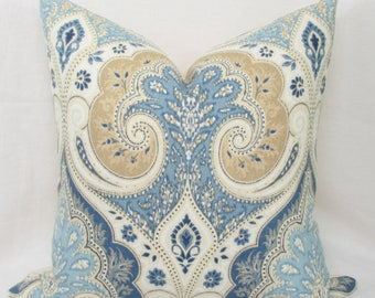Latika Kravet Circus Rust Blue Amp Tan Decorative Linen Lumbar