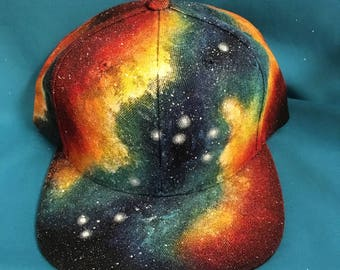 Custom Painted Galaxy Flat Bill Hat - Milky Way Forest, Skyscape, Aurora Borealis, Nebula, Space Hat, Headwear, Panel Hat, NASA, Hats, Stars