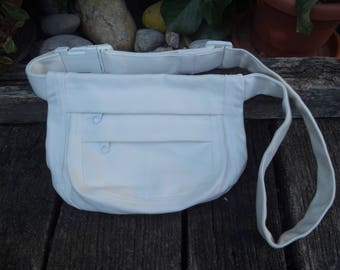 White canvas fanny pack,hip bag,belt bag