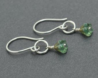 Sterling Silver Flower Earrings, Dangle Earrings, Czech Glass Earrings, Green Earrings