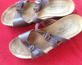 NAOT brown leather strappy adjustable slide sandals size 38 size 7 us