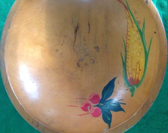 Vintage wood nut salad bowl with painted on vegetables