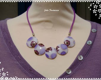 "Necklace ""flowers and spirals"" in Fimo purple / mauve / Pearl"