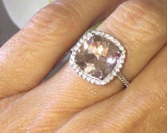 Morganite Halo Engagement Ring 10mm Cushion Cut Pink Morganite Ring .25ct Moissanite Accents 18k White Gold Pristine Custom Ring Pace ring
