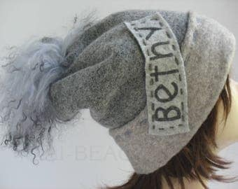 Christmas gift Ski Hat Personalized Name  Happy Birthday Announcement (Your  Name) Grey SKI HAT Gift for daughter Day gift Custom name