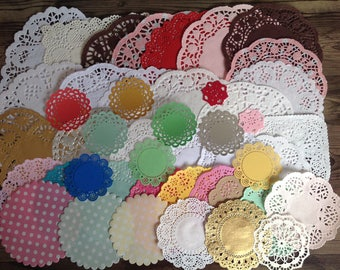 Doily destash, mixed doilies, set of 46 mixed doilies, variety pack, paper doilies, coloured doilies