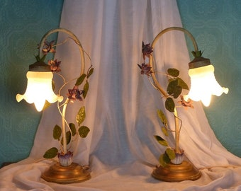 Pair of Vintage French Tole Bedside Lamps - Glass Tulip Shades - Vintage French Lamps - Flower Lamps - French Shabby Chic Table Lamps